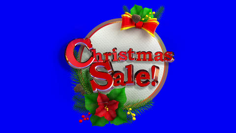 Christmas Sale sticker tag decoration in Three dimensional Animation in Matte Mask and 4K Animation