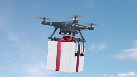 Copter Transporting a Gift Box on White Background, Sky and Green Screen Live Action