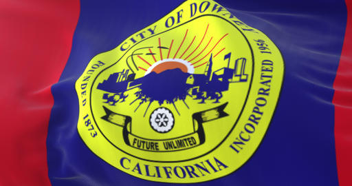 Downey city flag, city of California state in USA - loop Animation