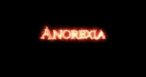 Anorexia written with fire. Loop Animation