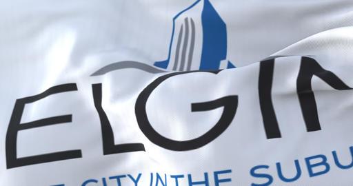 Elgin city flag, Illinois, USA or United States of America - loop Animation