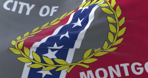 Montgomery city flag, city of Alabama in USA or United States of America - loop Animation