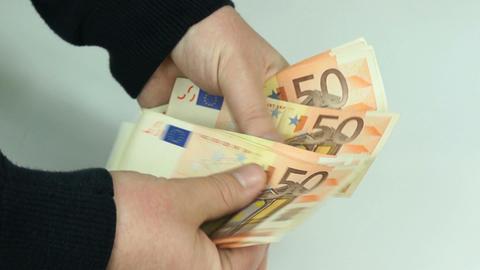 Man counts euro banknotes Footage