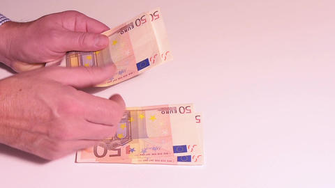 Counting Euros banknotes Footage