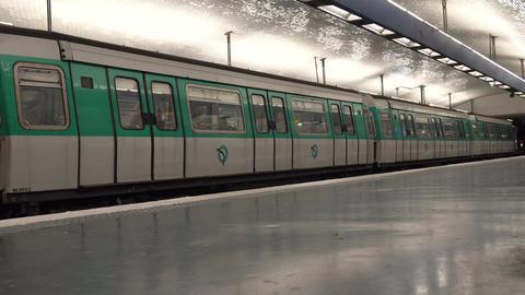 (4K) Subway station in Paris Footage