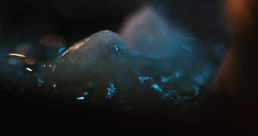 Dry ice in the boiling liquid. Boiling Water Close Up with Steam. Bubbles in chu Live Action