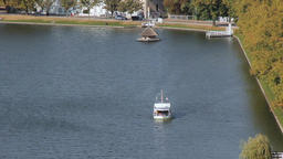 Passenger's ferry on the Pfaffenteich Schwerin Footage