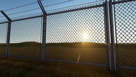 3D background Boundary Fence Sunset2 Animation