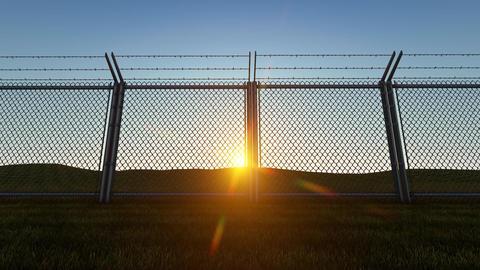 3D background Boundary Fence Sunset4 Animation