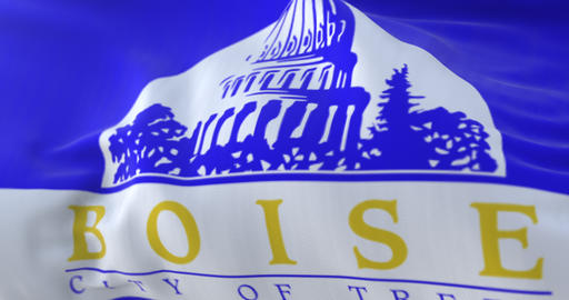 Boise city flag, city of Idaho in USA or United States of America - loop Animation