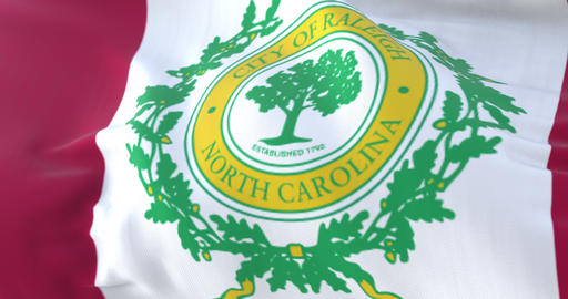 Raleigh city flag, city of USA or United States of America - loop Animation