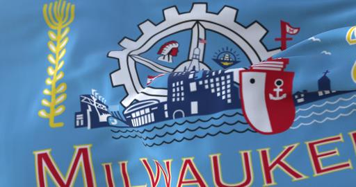 Flag of Milwaukee, city of United States of America - loop Animation