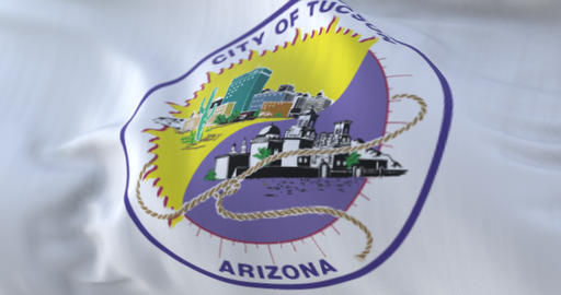 Tucson city flag, city of USA or United States of America - loop Animation
