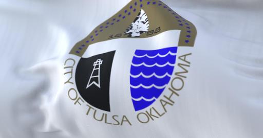 Tulsa city flag, city of USA or United States of America - loop Animation