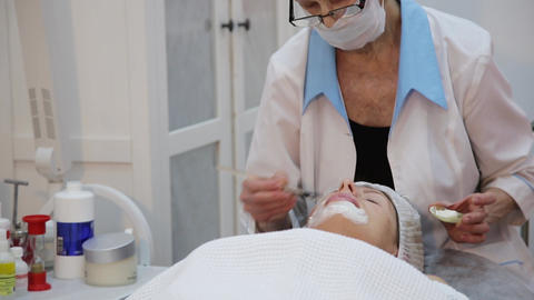 Face mask being applied during spa treatment Live Action