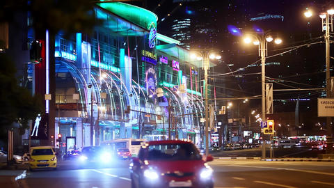 Cars driving on the night streets of Moscow night lights Footage