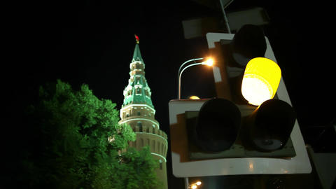 Traffic lights and arrows red, yellow, green on night Moscow streets Footage