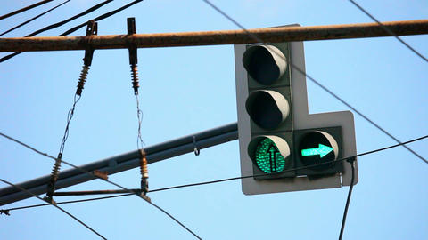 Traffic lights and arrows red, yellow, green on Moscow streets Footage