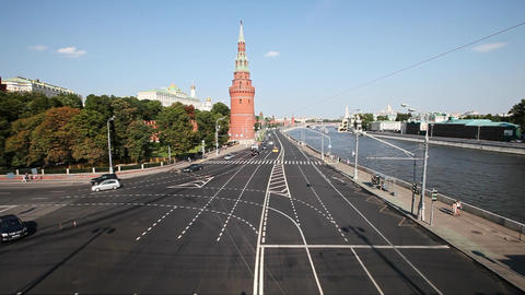 Movement of cars in the city on the streets at centre of Moscow Footage