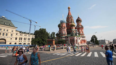 People walking on red square near the cathedral in Moscow Footage