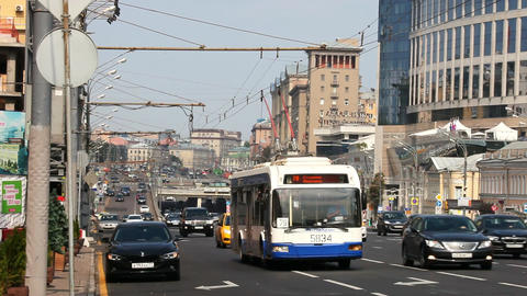 Movement of busses and cars in the city on the streets of Moscow Footage