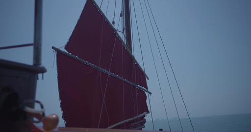 Sail of large ship. Helm of a sailboat. Sailing Boat Yacht. Ship sailing over ro Footage