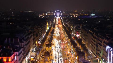 (4K) Illumination on Champs-Elysees avenue Footage