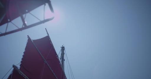 Sail of large ship. Helm of a sailboat. Sailing Boat Yacht. Ship sailing over ro Live Action