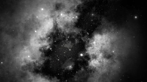 Slow Motion Serene Deep Space Galaxy and Stars Background Black and White 4K Animation