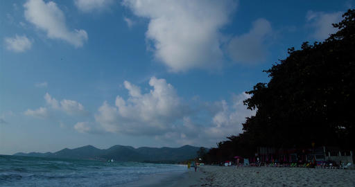 The sky over Pacific ocean. Daytime timelapse. Island and Exotic Beach in Thaila Footage