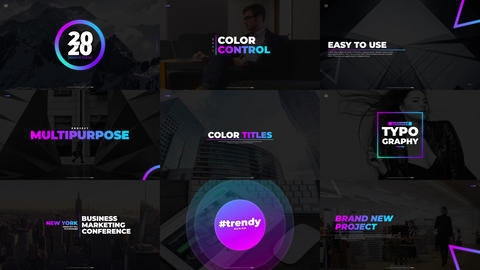 Gradient Titles (with BG) After Effects Template