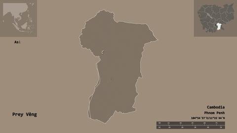 Prey Veng location. Cambodia. Administrative map Animation
