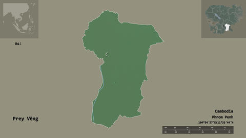 Prey Veng location. Cambodia. Relief map Animation