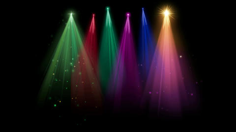 Multi colour decorative lights motion graphics with night background Animation