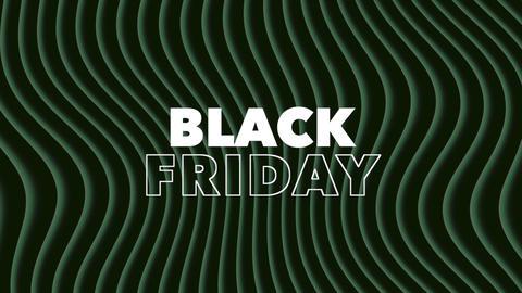 Animation intro text Black Friday on black fashion and minimalism background with geometric green Animation