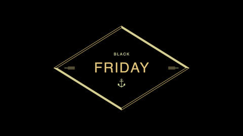 Animation intro text Black Friday on black fashion and minimalism background with geometric gold Animation
