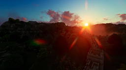 Aerial view of Great wall of China filled with tourists at sunset, 3d render fro Footage