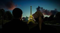 Eiffel Tower in Paris at sunset, romantic couple, focus shift Footage