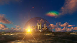 Modern city in a glass dome on ocean, sunrise Footage
