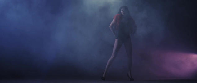Beautiful Woman dancing on stage with flares and lights, Young Pretty Female dan Footage