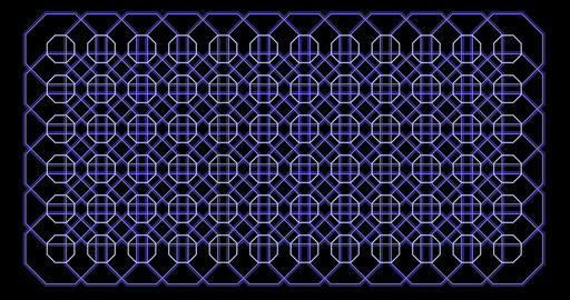 Octagon pattern. Loop Graphics. Blue Background Pattern Animation