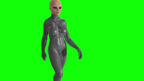 Alien woman walking,hromakey, green screen Stock Video Footage