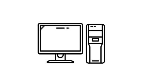 Desktop Computer line icon on the Alpha Channel Animation
