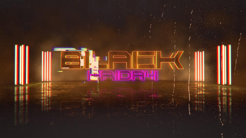 Animation intro text Black Friday and cyberpunk animation background with neon lights Animation