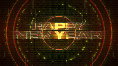 Animation intro text Happy New Year and cyberpunk animation background with computer matrix, numbers Animation