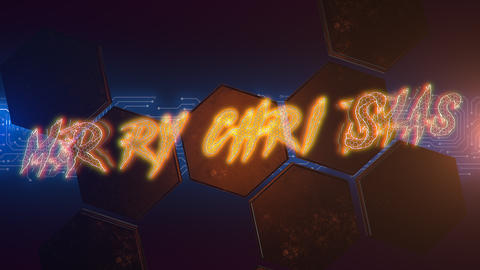 Animation text Merry Christmas and cyberpunk animation background with computer chip and hexagons Animation
