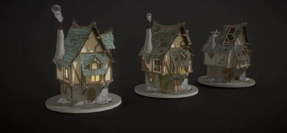 Medieval house lifecycle 3D Model