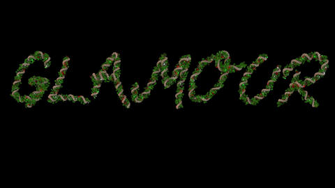 Animated Christmas wreath typeface letters forming the word Glamour Animation