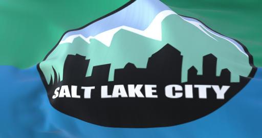Salt Lake City flag, Utah, United States of America, slow - loop Animation