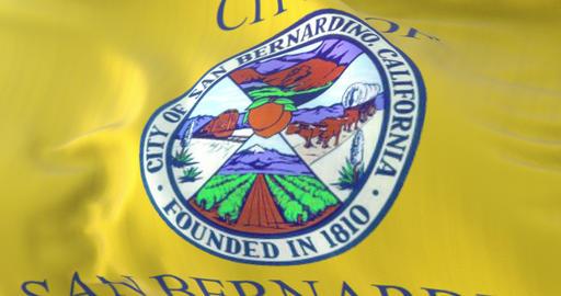 San Bernardino city flag, California, United States of America, slow - loop Animation